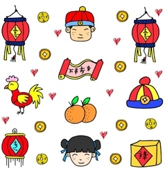 Chinese theme doodles vector
