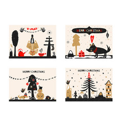 christmas a festive collection of postcards in vector image