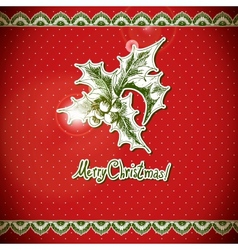 Christmas Holly and bell Vintage background vector image vector image