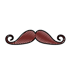 cute scribble moustache cartoon vector image