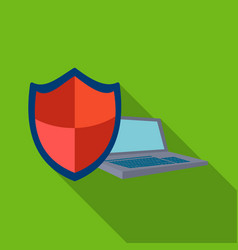 Data security of laptop icon in flat style vector