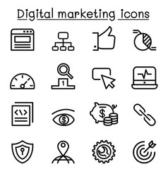 digital marketing seo icon set in thin line style vector image
