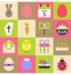Easter flat stylized icon set 4 vector image