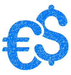 Euro and dollar currency grunge icon vector