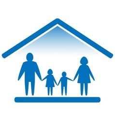 family on home blue icon vector image