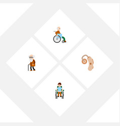 flat icon handicapped set of handicapped man vector image