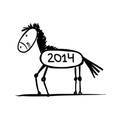 Funny horse sketch for your design Symbol of 2014 vector image