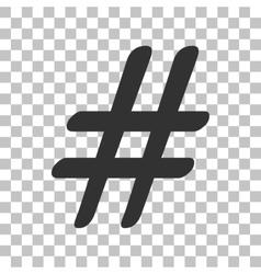 Hashtag sign dark gray icon on vector