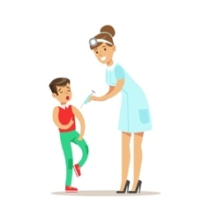 Kid on medical check-up with female pediatrician vector