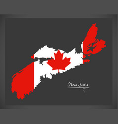 Nova scotia canada map with canadian national flag vector