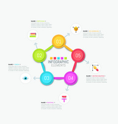 Pentagonal diagram with colorful elements vector