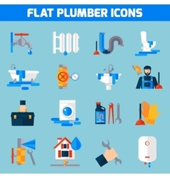 Plumber service flat icons set vector