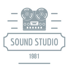 retro sound studio logo simple gray style vector image vector image