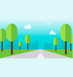Road through a city with tree and flat style vector