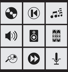 set of 9 editable mp3 icons includes symbols such vector image