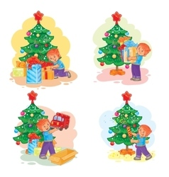 Set of icons little boy opening christmas presents vector