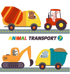 Set of isolated transports with animals part 7 vector