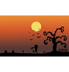 Silhouette of zombie in the tomb halloween vector
