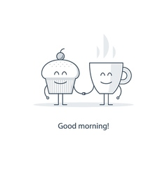 Tea time morning cup of coffee vector image
