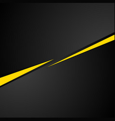 Tech black background with contrast yellow stripes vector