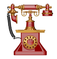 Vintage red phone vector