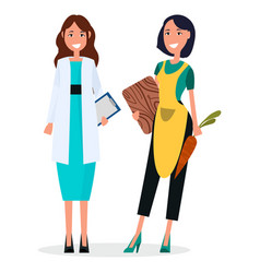woman doctor and housewife isolated on white vector image vector image