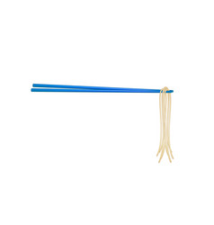 wooden chopsticks in blue design holding noodles vector image