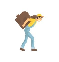 Worker walking with amchair on the back delivery vector