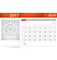 Year 2017 april month simple and clear design vector