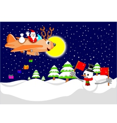 Santa with reindeer plane vector image