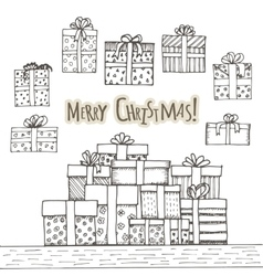 Hand drawn gifts set with bows in cartoon style vector image