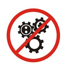 No ban or stop signs cogwheel gear icons vector