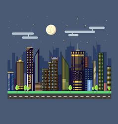 Flat style modern design of urban night city vector
