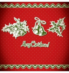Christmas Holly and bell Vintage background vector image