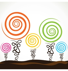Colorful swirl tree vector