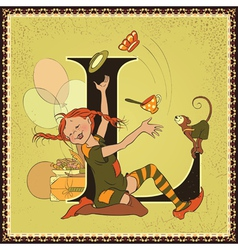 Letter l pippi longstocking vector