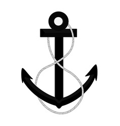 Black anchor with rope vector