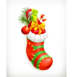 Christmas sock with gifts icon vector