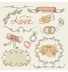 Rustic wedding set hand drawn elements vector