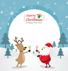 Santa claus and reindeer drinking champagne frame vector