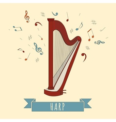 Musical instruments graphic template harp vector