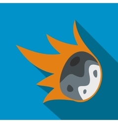 Falling meteor flat icon vector
