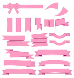 Cute pink ribbons set isolated on white background vector