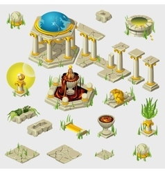 Ancient decoration buildings tiles sculptures vector