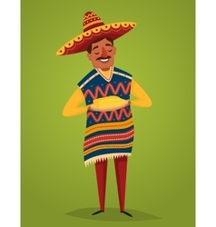 Mexican in national costume with corn vector
