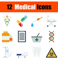 Flat design medical icon set vector