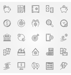 Money saving icons set vector