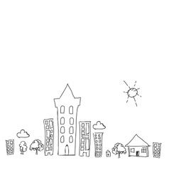 Doodle town draw with sun collection set of vector