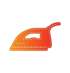 Smoothing iron sign orange applique isolated vector
