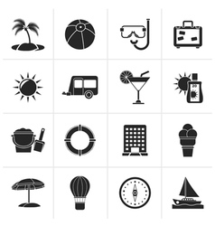 Black Vacation and holiday icons vector image vector image